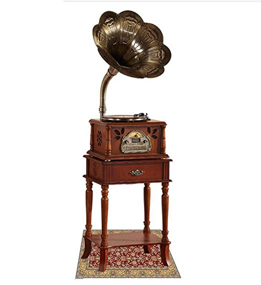 Hongge Retro fonógrafo Altavoz Pegamento Negro Tocadiscos Radio ...