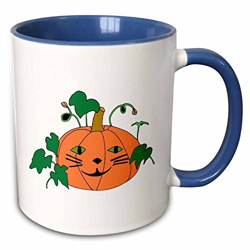 3dRose CherylsArt Holidays Halloween - Digital painting of a cute pumpkin with a cat face for Halloween - 15oz Two-Tone Blue Mug (mug_223207_11)