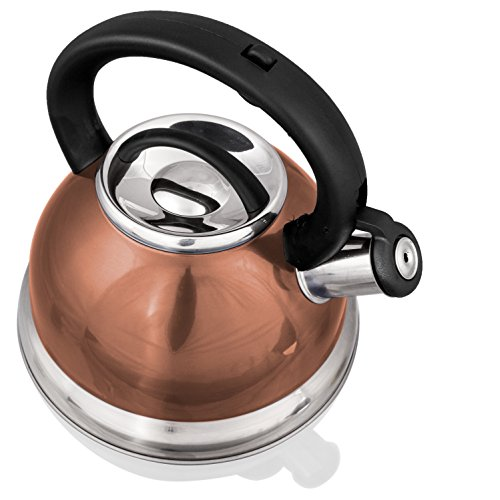 Encapsulated Stainless Copper Bottom - Stainless Steel Whistling Tea Kettle or Tea Maker w/Encapsulated Base 2.8 Liter (Copper)