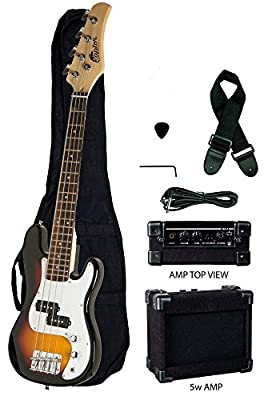 """Raptor EB38CO-TS 3/4 Size Kids Junior 4 String Electric P Bass Package, Tobacco-Burst with Gig Bag, Strap, Cable, Pick, 5 W amp, 38"""" L"""