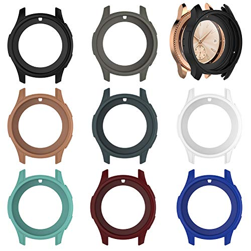 E ECSEM Protective Case Cover for Samsung Galaxy Watch 42mm Colorful Shock-Proof Cover Sleeve Watch Cover Slim Designer Sleeve Protector for Samsung Galaxy Watch SM-R810/SM-R815 Smartwatch (8Pack)