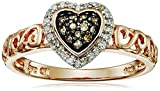 Rose Gold-Plated Sterling Silver Brown and White Diamond Heart Ring (1/6 cttw, I-J Color, I2-I3 Clarity), Size 7