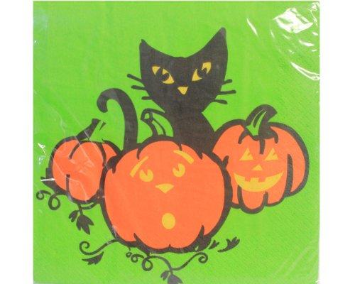 Hefty Cat (Hefty Black Cat and Pumpkins Napkins)