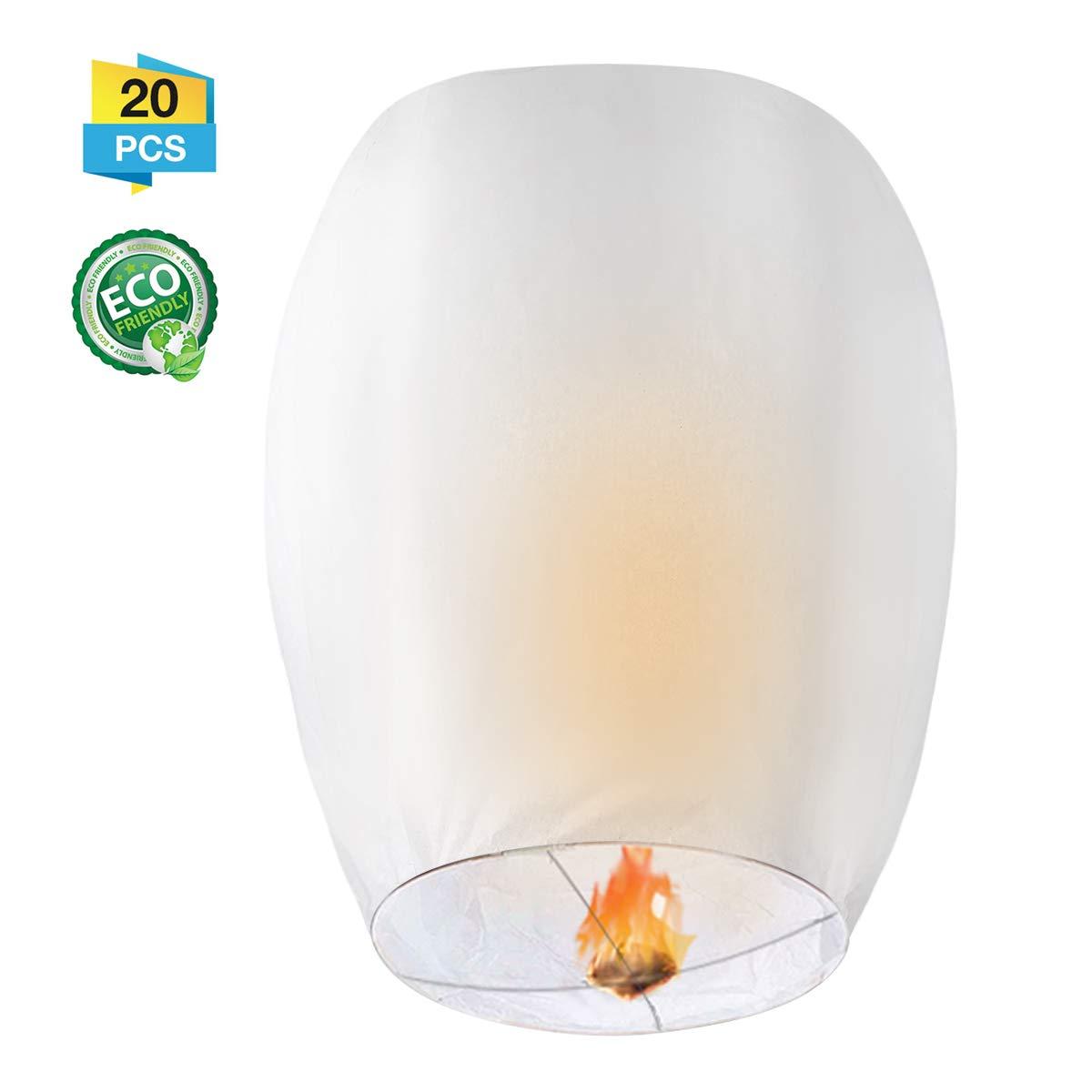 GOCHANGE Chinese Lanterns, 20 Pack Sky Lanterns - 100% Biodegradable, Eco-Friendly, Paper Lanterns for Weddings, Celebrations, Memorial Ceremonies, White Flying Sky Lanterns
