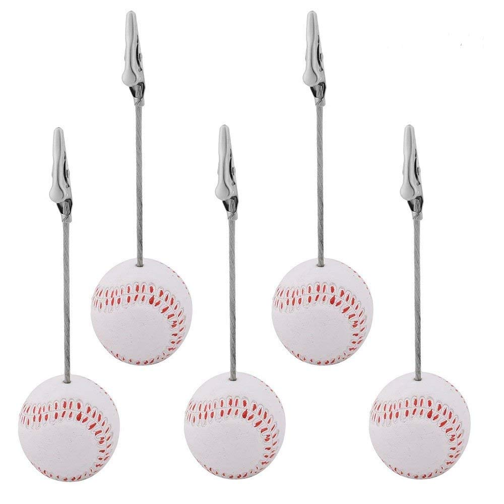 Yootop 5 Pcs Baseball Shaped Resin Base Office Household Note Photo Paper Memo Clip