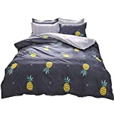 Hxiang 3 Piece Duvet Cover Set with 2 Pillowcase - Luxurious&Extremely Durable Premium Bedding pineapple bedding Collection - -1 Duvet Cover+2 Pillowcases (Twin, black)