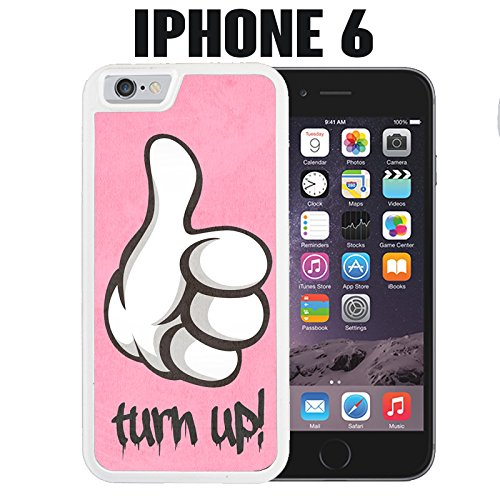 iPhone Case Turn Up for iPhone 6 Plastic White (Ships from CA) With Free .33 mm Premium Tempered Glass Screen Protector