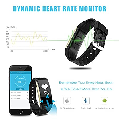 Fitness Activity Tracker Bluetooth Wristband Wireless Smart Watch Band Heart Rate Monitor HR Pedometer Track Steps Sleep Waterproof IP67 Bracelet for iOS & Android Smartphone