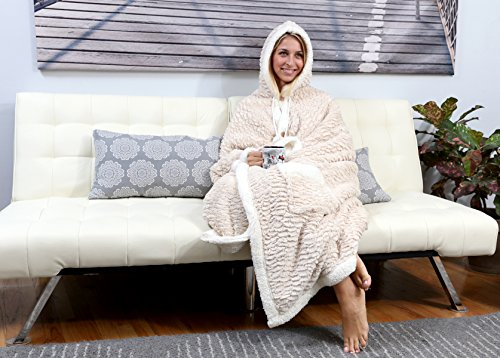 Chic Home Kent Boutique Box Snuggle Hoodie, 51 x 71, Beige