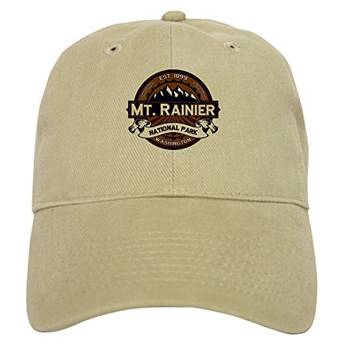 CafePress Mt. Rainier Vibrant Baseball Cap with Adjustable Closure, Unique Printed Baseball Hat Khaki