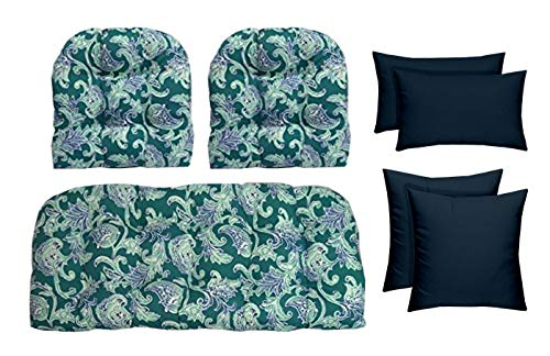 RSH Décor Outdoor Wicker Tufted 7 Piece Set - Loveseat Settee, Chair Cushions, Square & Lumbar Pillows- Teal Paisley Floral & Navy