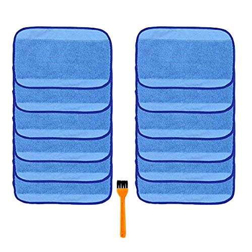 h Life 12pcs Microfiber Wet Mopping Cleaning Pads Cloth for iRobot Braava 380 380t 321 320 Mint 5200C 5200 4200 4205 and A Free Cleaning Brush ()