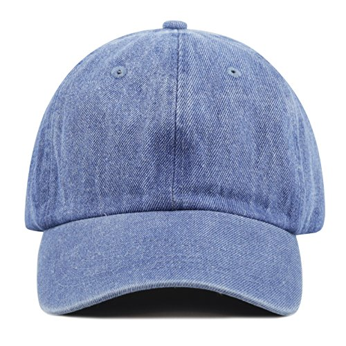 The Hat Depot 300N Washed Cotton Low Profile Denim Baseball Cap (Denim Blue)