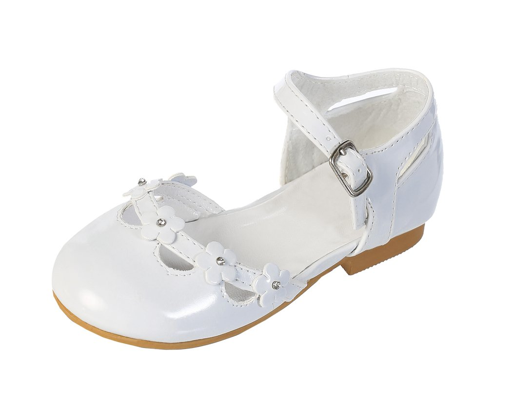 DressForLess Flower and Rhinestones Patent Flower Girl Shoes, White, 13