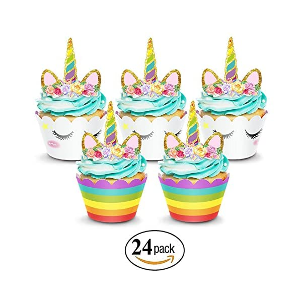 Unicorn Cake Topper & Rainbow Cupcake Wrappers Kit (Set Includes Horn, Ears, Eyelashes) + Happy Birthday Banner Decor… 5