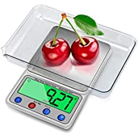 Intsun 0.001oz/0.1g 6000g Digital Kitchen Scale Multifunction Food Scale with LCD Display, Tare, Mode and PCS Features, Sliver, Stainless Steel, 2 Pcs Batteries Included