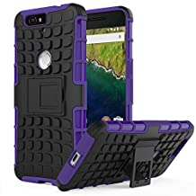 Nexus 6P Case - MoKo Heavy Duty Rugged Dual Layer Armor with Kickstand Protective Cover for Google Nexus 6P by Huawei 5.7 Inch Smartphone 2015 Release, PURPLE (Not Fit Nexus 6 2014 Version)