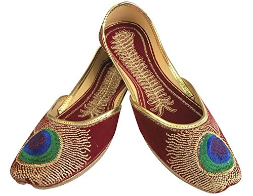Schritt N Style Royal Frauen Traditionelle Pfau Panjabi indischen jutti mojari Flip Flops Braun