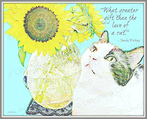 Van Gogh print Charles Dickens Quote art print Garden Sunflowers art Cat love art Cat lovers gift Cottage Shabby Chic Whimsical bedroom decor French Impressionist Pets Cat - Van Den Charles