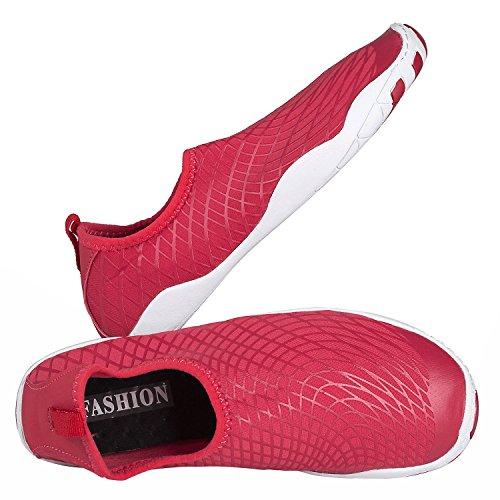 Youweb Water Shoes schnell trocken Aqua Wasser Schuhe Beach Walking Swming Yoga Übung Red1