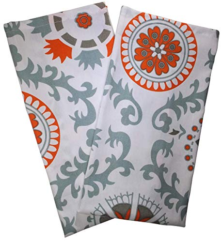 (Crabtree Collection Premium Quality Set of 2 Kitchen Dish Towels 100% Cotton Absorbent Tea Towels - Ideal 18 x 28 Dimensions … (Blue/Orange Medallion))