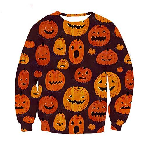 FEDULK Women Men Halloween Costume Pullover 3D Digital Print Horror Scary Festival Sweatshirt Blouse(Brown, ()