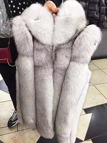 Manches Fte san Femmme Long Mariage Hiver LaoZan en Vest Coat Cocktail en Blanc Capuches Fourrure Gilet Manteau Fausse pour F0wgHxZ
