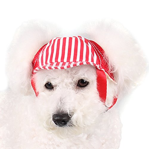 Image of RYPET Dog Baseball Hat Adjustable Outdoor Sports Sun Protection Hat Cap Small to Medium-sized Breeds Pet, Red - Large