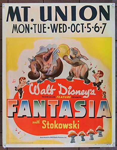 Fantasia (1940) Original Walt Disney Company Theatrical-Release Movie Poster (1940) JUMBO WINDOW CARD 22X28 VERTICAL ORIENTATION Very Fine Condition