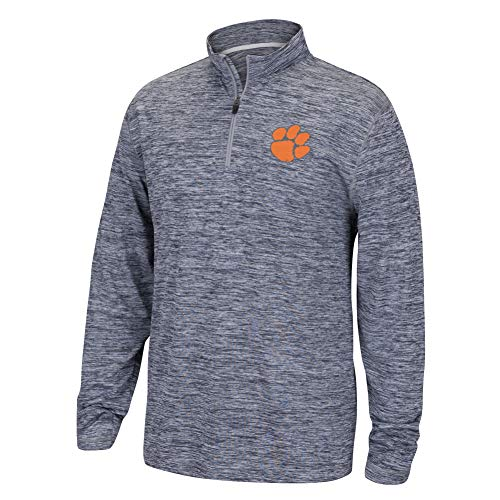 Top of the World NCAA Men's Clemson Tigers Dark Heather Space Dyed Poly Quarter Zip Pullover Graphite XX Large