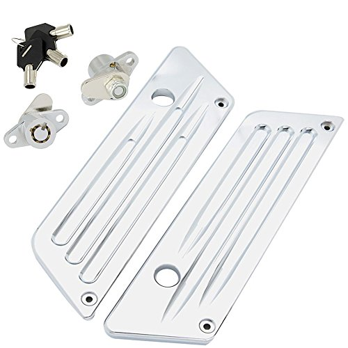 Chrome Billet Hard Saddlebag Bags Latch Cover with Lock Set for Harley-Davidson Touring 1993-2013 (Chrome Touring Saddle)