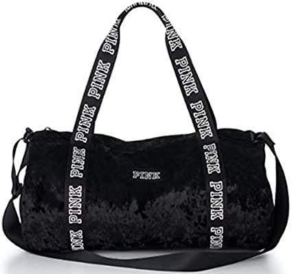Amazon Com Victoria Secret Pink Black Velvet Duffle Tote Bag