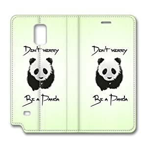 Brain114 Fashion Style Case Design Flip Folio PU Leather Cover Standup Cover Case with Be A Panda Pattern Skin for Samsung Galaxy Note 4