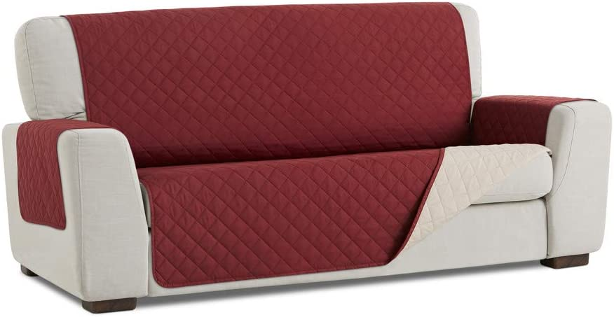 Funda Protector Reversible Acolchado para Sofá de 3 plazas. Color Rojo/Beige.Pro Elite.