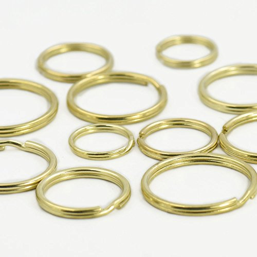- Bluemoona 10 Pcs - Brass Round Edged Keyring Keychain Split Ring 20mm 3/4