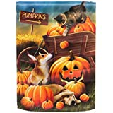 Gifted Living Dogs and Cat At The Pumpkin Patch Garden Flag