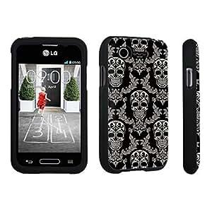 DuroCase ? LG L34C Optimus Fuel / LG Optimus Zone 2 VS415PP Hard Case Black - (Skull Vintage Pattern)