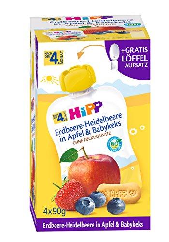 Hipp Frucht & Getreide im Quetschbeutel für Baby, Erdbeere-Heidelbeere in Apfel & Babykeks, 4er Pack (4 x 90 g) 8495