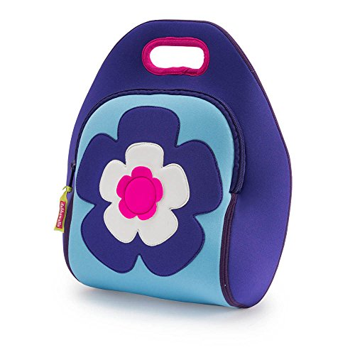 Dabbawalla Bags Flower Power Kids' Insulated Washable & Eco-Friendly Lunch Bag Tote Purple/Pink (Flowers Toy Bag)