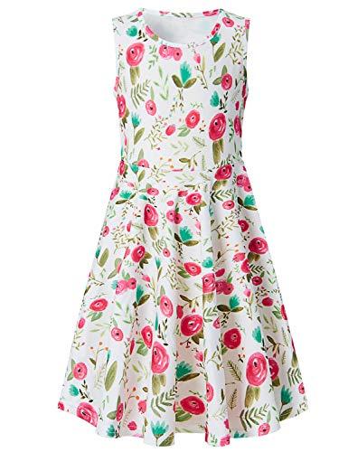 Funnycokid Grils Print Dress Sleeveless Flower Summer Dress 10-13 T ()