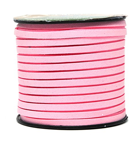 (Mandala Crafts 50 Yards 5mm Wide Jewelry Making Flat Micro Fiber Lace Faux Suede Leather Cord (5mm, Pink))