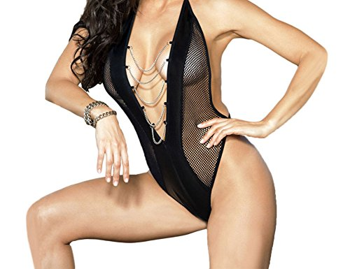Elakaka Chained Faux Leather Accent Fishnet Teddy Lingerie(Size,S)