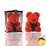 Kicpot Teddy Hug Bear Eternal Rose, Valentine 's Day Artificial Rose Gifts for Girlfriend, Anniversary, Wedding, Graduation and Birthday Gifts (Red)
