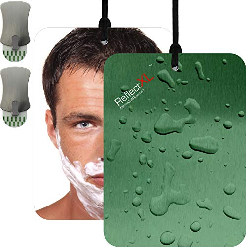 ReflectXL Shower Mirror by Mirror On A Rope. Our Largest Mirror. Shatterproof. Easily Eliminate Fog and Shadows. Includes Two Removable Adhesive Hooks and an Adjustible Rope (Green)