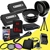TWO NPFH50 Lithium Ion Replacement Batteries w/Charger + 8GB SDHC Memory Card + Mini HDMI + 3 Piece Filter Kit + Wide Angle/Telphoto Lenses + USB SD Memory Card Reader /Wallet + Deluxe Starter Kit for Sony DCRDVD508, DCRDVD408, DCRDVD308, DCRDVD108, DCRDV