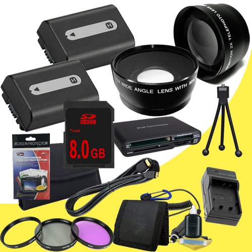 TWO NPFH50 Lithium Ion Replacement Batteries w/Charger + 8GB SDHC Memory Card + Mini HDMI + 3 Piece Filter Kit + Wide Angle/Telphoto Lenses + USB SD Memory Card Reader /Wallet + Deluxe Starter Kit for Sony DCRDVD508, DCRDVD408, DCRDVD308, DCRDVD108, DCRDV by DavisMAX