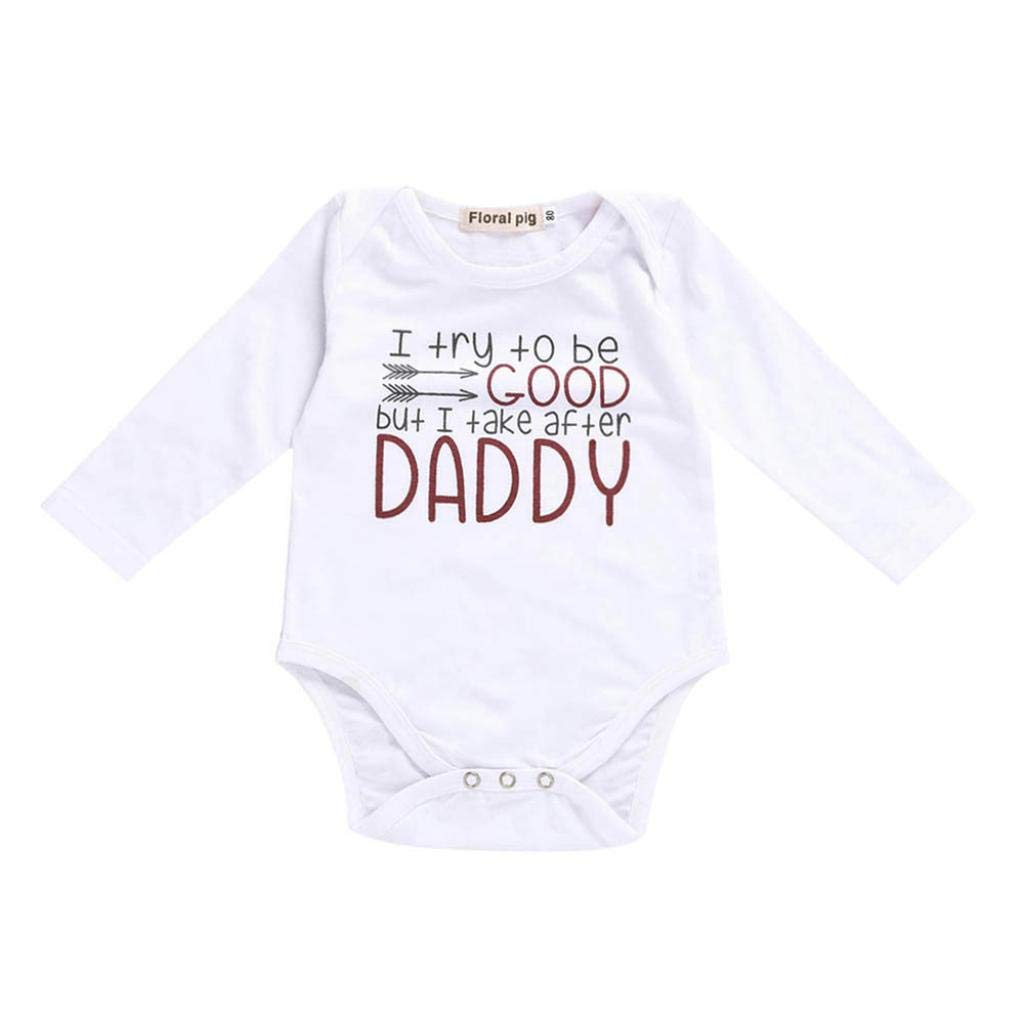 wuayi Kids Baby Letter Print Long Sleeve Outfits Clothes Boys Girls Romper Jumpsuit
