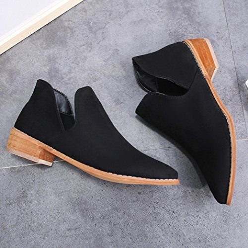 Shoes Black Winter Ankle Boots Martin Warm Inkach Booties Women 7H0860qC