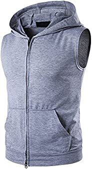 Mens Casual Sleeveless Zip-up Vest Tank Hoodies with Pocket Bodybuilding Gym Tank Top