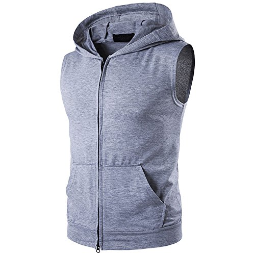 - Fashion Men's Summer Casual Hooded Pure Color T-Shirt Sleeveless Hoodie Tops